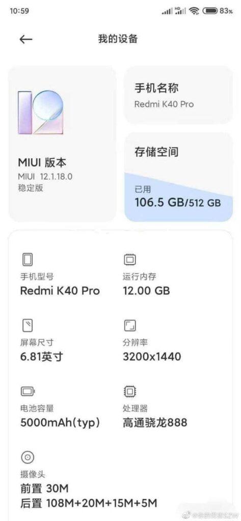 Ficha técnica Xiaomi Redmi K40 Pro